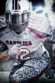 South Carolina Football debuted their new custom gray Battle uniforms by Under Armour at their game vs. LSU in Baton Rouge on October 13, 2012.