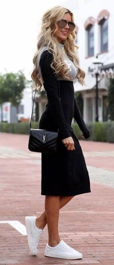 casual style perfection black dress   bag   white sneakers