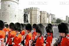 Changing of the Guard Windsor Castle, Britain - 03 Apr 2016 The Cold Stream Guards march through the streets of Windsor to the castle on a warm sunny April morning 3 Apr 2016 Windsor Castle, Elizabeth Ii, Sunnies, Britain, March, Cold, Travel, Viajes, Sunglasses