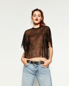 ZARA - WOMAN - TULLE T-SHIRT WITH PUFF SLEEVES
