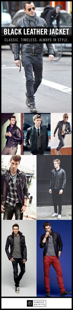 The black leather jacket is timeless. Men have been wearing them for many years and they never really seem to go out of style. If you decide to wear one, make sure that if fits you well. Fit is key when it comes to the black leather jacket. Enjoy our collection of black leather jacket inspiration for men.