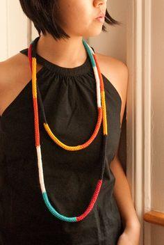 Color Block Cord Necklace. $35.00, via Etsy.