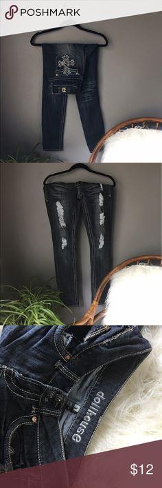 DOLLHOUSE // destroyed embellished skinny jeans Overly embellished jeans. Worn once. Dollhouse Jeans Skinny
