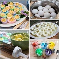 Fazer ovos muito coloridos...  Veja mais em http://www.comofazer.org