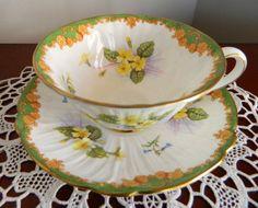 ~ Vintage Shelley Cup and Saucer Footed Oleander Shape Primrose ...