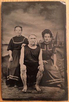 1890s Women Man Beach Swimsuit Bathing Suit Fashion Tin Type Photo