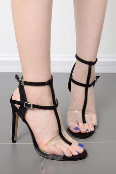 98a35b600395 Open Toe Transparent Ankle Wrap Stiletto Heels Sandals  shoes  shoesaddict   stiletto  heels