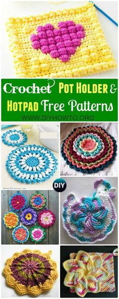Collections+of+crochet+pot+holders+and+hotpads+free+patterns,+square,+circle,+flower+and+animal.+via+@diyhowto