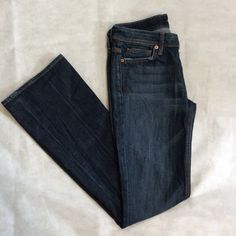 """7 For All Mankind Dark Wash Jeans Size 27 7 for all mankind jeans, dark wash with whiskering and some distressed spots. They are the flynt, slim boot cut jeans. The inseam is 33"""". 7 for all Mankind Jeans Boot Cut"""