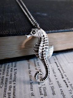 Seahorse Necklace Silver Sea Creature by Saout on Etsy