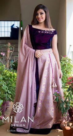 Lehenga blouse designs - One shoulder back neck Blouse Design Half Saree Designs, Lehenga Designs, Lehnga Dress, Lehenga Blouse, Long Gown Dress, The Dress, Indian Designer Outfits, Designer Dresses, Kerala Engagement Dress