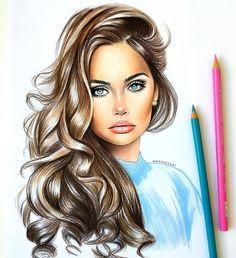Drawings of dresses, cute drawings of girls, beautiful drawings, amazing drawings, amazing Pencil Art Drawings, Cute Drawings, Art Sketches, Amazing Drawings, Beautiful Drawings, Hair Sketch, Illustration Mode, Color Pencil Art, Art Graphique