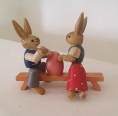 Vintage German Rabbits Decorating For Easter by Diddyandcompany