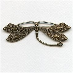 Vintage Rare Huge Oxidized Brass Dragonfly Stamping^ (1)