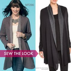 Sew the Look: McCall's M7290 cardigan sewing pattern by Nancy Zieman. Perfect for double-faced knits.