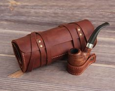 Items similar to Personalized Leather Pipe & Tobacco Pouch -Pipe Roll - Leather Pipe Bag - Leather Pipe Case - Pipe holder - tooled pipe pouch on Etsy Wooden Smoking Pipes, Pipe Smoking, Pipes And Cigars, Leather Projects, Leather Crafts, Crazy Horse, Leather Accessories, Vegetable Tanned Leather, Leather Working