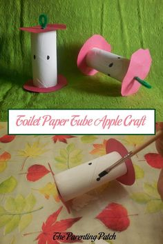 A is for apple! And apples make me think of autumn. Learn how to make apple cores with toilet paper tubes, paint, construction paper, and pipe cleaners.