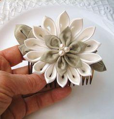 Ivory Flower Fascinator: Bridal Kanzashi Silk. $40.00, via Etsy.