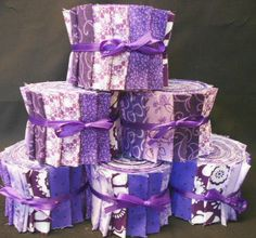 Purple Quilt Fabric Strips  Purple Jelly Roll  by by SEWFUNQUILTS