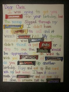 50th birthday poster made with candy bars | Candy bar poster birthday card! I want this!!!!! My B-Day is 22 ...