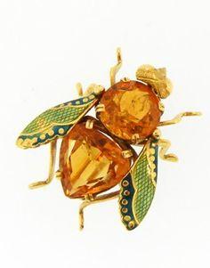 Citrine & Enamel Bug Brooch