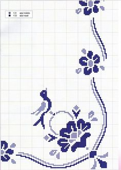 Maria Ferreira uploaded this image to 'Bordados ponto cruz'. See the album on Photobucket. Cross Stitch Bird, Cross Stitch Borders, Cross Stitch Flowers, Cross Stitch Designs, Cross Stitching, Cross Stitch Embroidery, Cross Stitch Patterns, Seed Bead Patterns, Embroidery Patterns Free