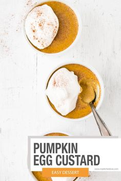 Delicious Pumpkin Egg Custard. Creamy and luscious, yet almost effortless Fall dessert. No Egg Desserts, Make Ahead Desserts, Fall Desserts, Delicious Desserts, Dessert Recipes, Easter Desserts, Birthday Desserts, Strawberry Desserts, Bakery Recipes