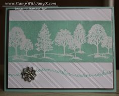 Amy's serene card uses Lovely as a Tree, Snow Day, Silver Foil Sheets, Stylish Stripes embossing folder, Iridescent Ice embossing powder, & a Frosted Finishes snowflake.