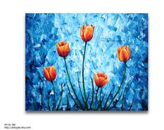 Hey, I found this really awesome Etsy listing at https://www.etsy.com/listing/229182599/orange-tulips-painting-acrylic-large