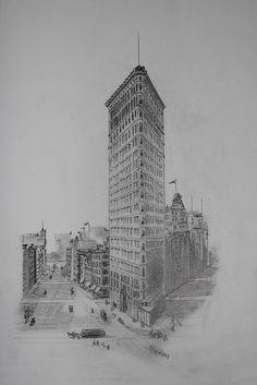 Flatiron Building, NYC. Pencil on paper. M.Carmen Voces, 2013 by voces, via Flickr