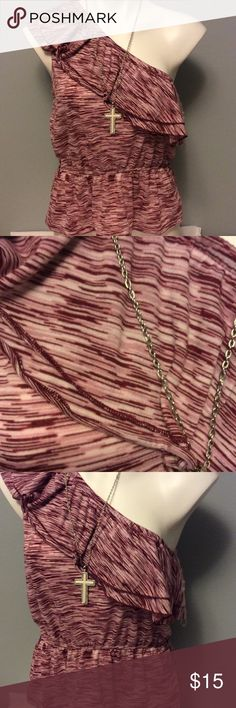 NWT Almost Famous One Shoulder Shirt NWT Size large.  Elastic waist.  Wine colored.  Necklace not included. Almost Famous Tops
