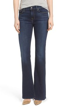7 For All Mankind® 'Tailorless' Bootcut Jeans (Nouveau NY Dark) (Short) This brand works well because it comes in petite. Boot cut looks better with my body type than slim or tapered legs.