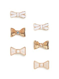 our mini ivory bow stud trio - so cute and dainty!