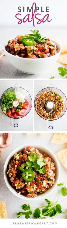 5 Minute Food Processor Salsa - This simple salsa recipe comes together in just a few minutes with fresh tomatoes, cilantro, jalapeno, and a few other simple ingredients. The perfect easy salsa recipe for an afternoon snack or for easy entertaining. Vegan, Vegetarian.