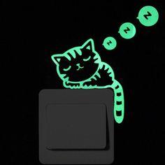 Luminous Cartoon Switch Sticker Glow in the Dark Cat Sticker Fluorescent Fairy Moon Stars Sticker Kid Room Decoration Home Decor Kids Stickers, Star Stickers, Wall Stickers, Super Cute Cats, Cat Wall, Pvc Material, Cartoon Design, Cat Pattern, Stars And Moon