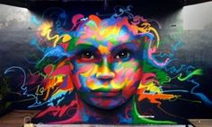 Deep Young Eyes, 2014 Freehand Spray Paint Mural Located in Wynwood Miami, FL
