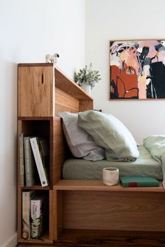"The ""Bookshelf bed"" is made up of four bookshelves which create a large platform for the mattress to sink into, eliminating the need for side tables. The bed frame is made up of a mixture of locally sourced recycled timber meaning each design is unique. Diy Storage Headboard, Bed Headboard Design, Headboards For Beds, Bed Design, Headboards With Storage, Home Bedroom, Bedroom Decor, Teen Bedroom, Bedroom Furniture"
