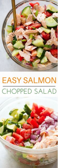 Salmon Chopped Salad - This Salmon Chopped Salad Recipe is quick and easy to make, packed with protein, healthy fats and it's flavoured with lemon vinaigrette.