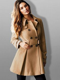 Stylish Women Trench Casual Long Sleeve Faux Fur Lapel Double