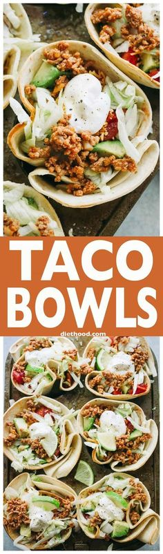 Taco Bowls - Fun and delicious baked flour tortilla bowls filled with taco-seasoned ground turkey meat, salad, tomatoes, cheese, and topped with a dollop of sour cream! via @diethood