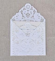 Lace wedding invitation envelopes are very elegant