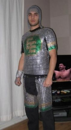 Beer can Tab Chainmail Armor Pop Can Crafts, Chainmail Armor, Pop Can Tabs, Soda Tabs, Dress Up Boxes, Pop Cans, Fancy Costumes, Suit Of Armor, Chain Mail