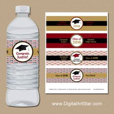 Make your own beautiful high school or college graduation decorations with these graduation printable water bottle labels.  The design is high quality and stylish in black, burgundy, gold, and white. #graduation #printable #personalized