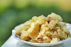 Potato Salad with Apples and Bacon ~ Perfect summer potluck potato salad with Yukon Gold potatoes, bacon, onions, and chopped apple. ~ SimplyRecipes.com