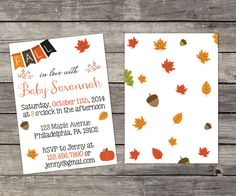 """Fall Sip and See Invitation """"Fall In Love"""" - Adorable Invitation for Halloween/Thanksgiving Time"""