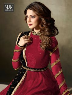 Jennifer Winget Maroon Velvet Designer Anarkali Suit Women elegance is magnified tenfold in this style of a maroon color velvet designer floor Eid Outfits, Indian Outfits, Indian Clothes, Online Shopping Usa, Online Dress Shopping, Designer Anarkali, Jennifer Winget, Eid Dresses, Dresses Online