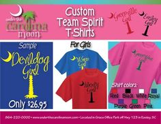 Customize your Team Spirit T-shirt from Under the Carolina Moon. Choose shirt color and thread color.