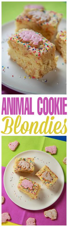 Take a bite out of childhood with these delicious Animal Cookie Blondies! Moist vanilla blondies with frosted animal cookies baked right in the batter AND on top!