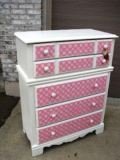 pink stenciled dresser