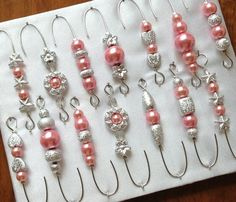 Silver and Pink Pearl Beaded Ornament Hook Hangers - Silver Wire - FREE SHIPPING on Etsy, $15.50